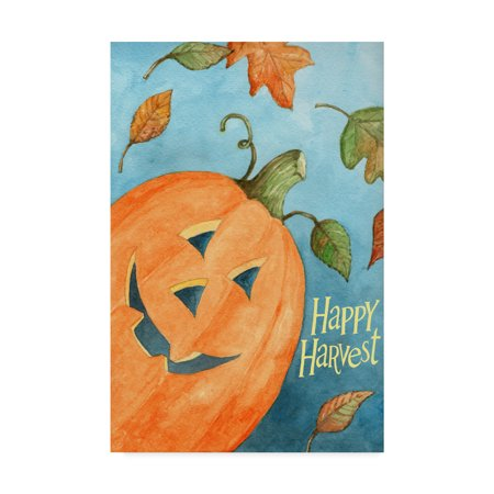 Trademark Fine Art 'Happy Harvest Pumpkin' Canvas Art by Melinda Hipsher (Pumpkin Art)