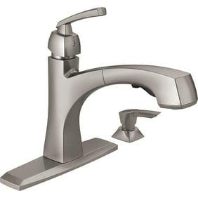 moen 7597c 90-degree one-handle pullout kitchen faucet, chrome (not ca/vt  compliant)