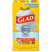 Glad Tall Kitchen Trash Bags, 13 Gallon, 45 Bags (ForceFlex, Unscented)