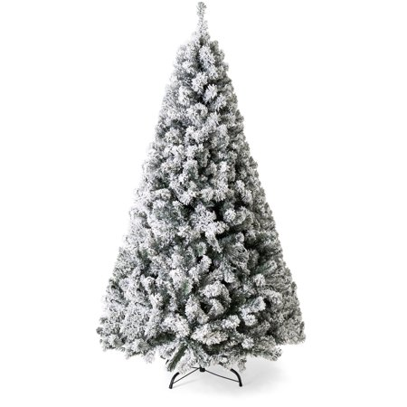 Best Choice Products 7.5ft Snow Flocked Hinged Artificial Christmas Pine Tree Holiday Decor with Metal Stand, Green ()