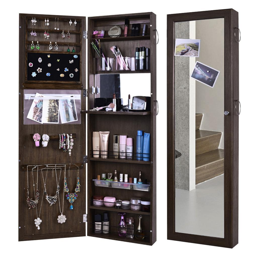 Lockable Wall Mount Jewelry Cabinet Door Mounted Jewelry and Makeup