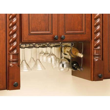 Rev-A-Shelf - 3450-11ORB - 11 in. Oil Rubbed Bronze Under Cabinet Quad Wine Glass Holder (Undercabinet Wine Glass Holder)