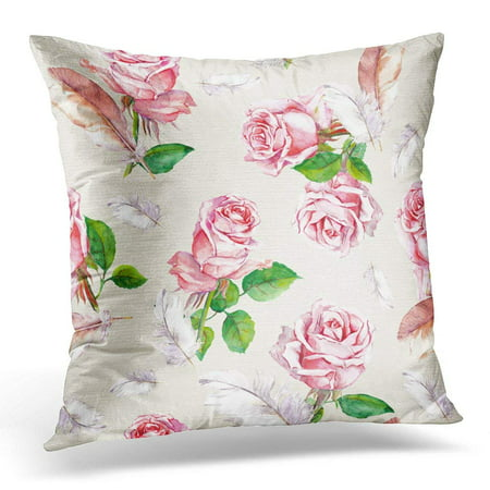 ARHOME Beautiful Floral Pattern with Pink Rose Flowers and Feathers Watercolor Blooming Pillow Case Pillow Cover 18x18 inch