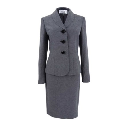 Shawl Collar Skirt Suit (Le Suit Womens Dot-Print Shawl Collar Skirt Suit)