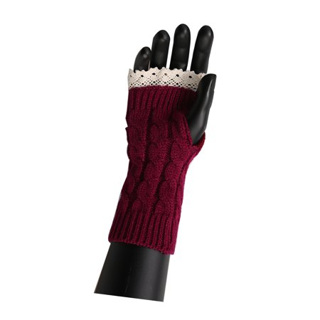 Unisex Winter Lace Warmers Ribbing Thumb Hole Gloves Burgundy 1 Pair - image 3 of 7