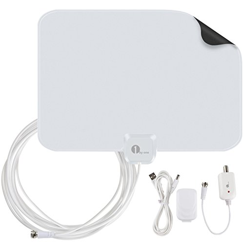 1byone TV Antenna 50 Mile Range HDTV Antenna. Amplified HDTV Antenna with Detachable... by 1byone