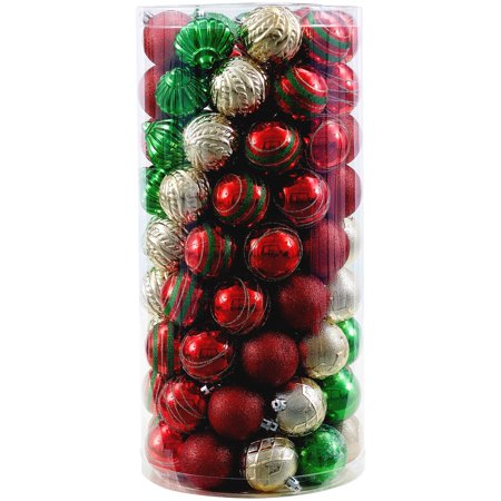 Holiday Time Shatterproof Ornaments, Red, Green, & Gold, 101 -