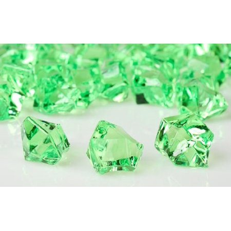 2 Pounds of Clear Apple Greenn Plastic Ice Rock Vase Gems or Table Scatters ()