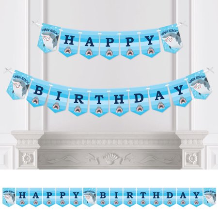 Shark Zone - Jawsome Shark Birthday Party Bunting Banner - Birthday Party Decorations - Happy - Shark Happy Birthday