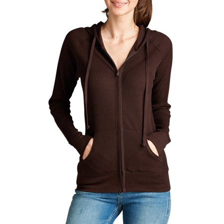 Women Long Sleeve Thermal Hoodie Jacket Top