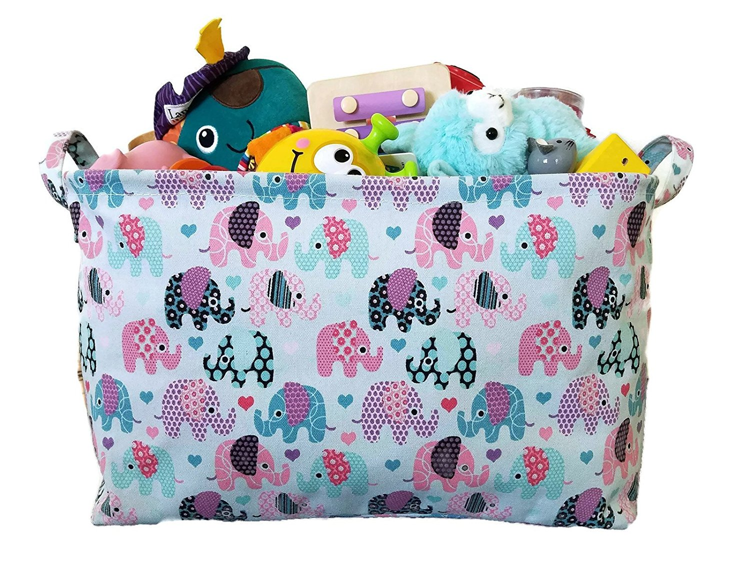 Toy Storage Basket And Canvas Box Organizer With Elephant Prints For Kids  Toys And Nursery Storage