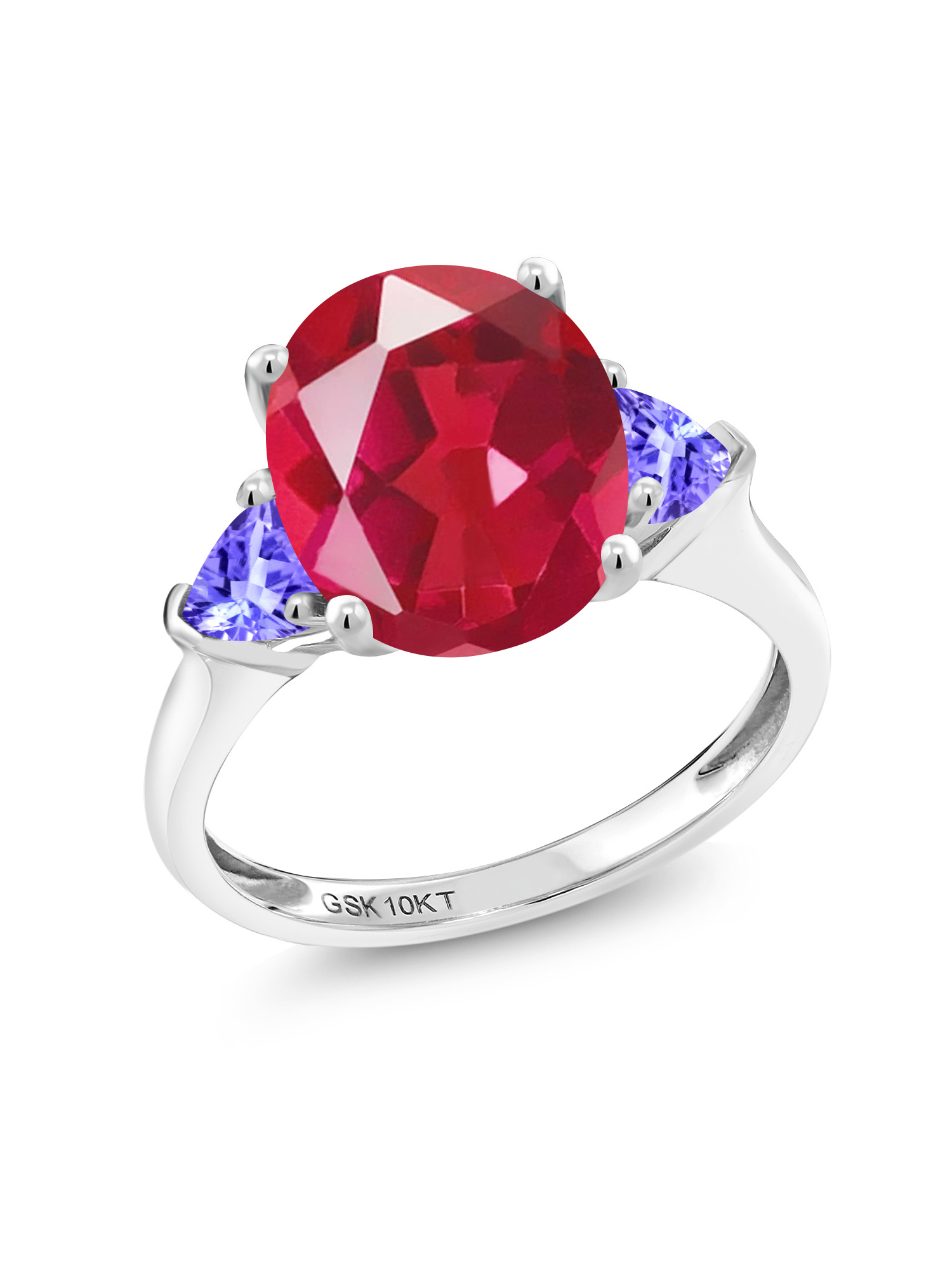 4.02 Ct Oval Last Dance Pink Mystic Quartz Blue Tanzanite 10K White Gold Ring by