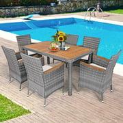 Gymax 7PCS Outdoor Dining Set Patio Acacia Wood and Rattan Furniture Set w/ Cushions