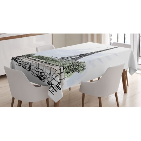 Paris Decor Tablecloth, Architecture Theme Illustration of Eiffel Tower Birds and Trees Pattern, Rectangular Table Cover for Dining Room Kitchen, 60 X 90 Inches, Black and White, by - Paris Themed Tablecloth