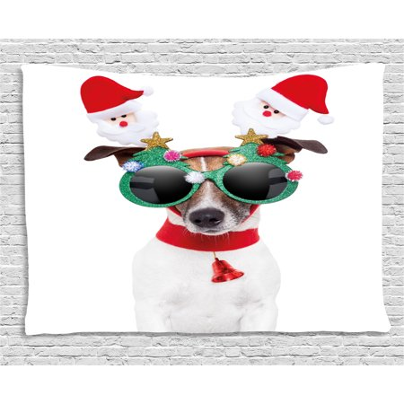 Christmas Tapestry, Funny Puppy Jack Russel Dog with Hilarious Sunglasses Santa Figures and Bell, Wall Hanging for Bedroom Living Room Dorm Decor, 60W X 40L Inches, Multicolor, by Ambesonne (Sunglasses Funny)