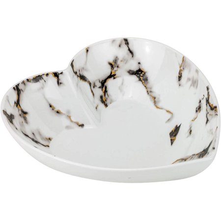 Euro Porcelain Heart Shaped Bowl, Fine Marble China Tableware with 24k Gold Plate Accent(Black w/gold, Heart Bowl) Fine China Porcelain Bowls