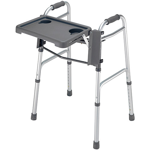 DMI Folding Walker Tray with Cup Holders, Grey
