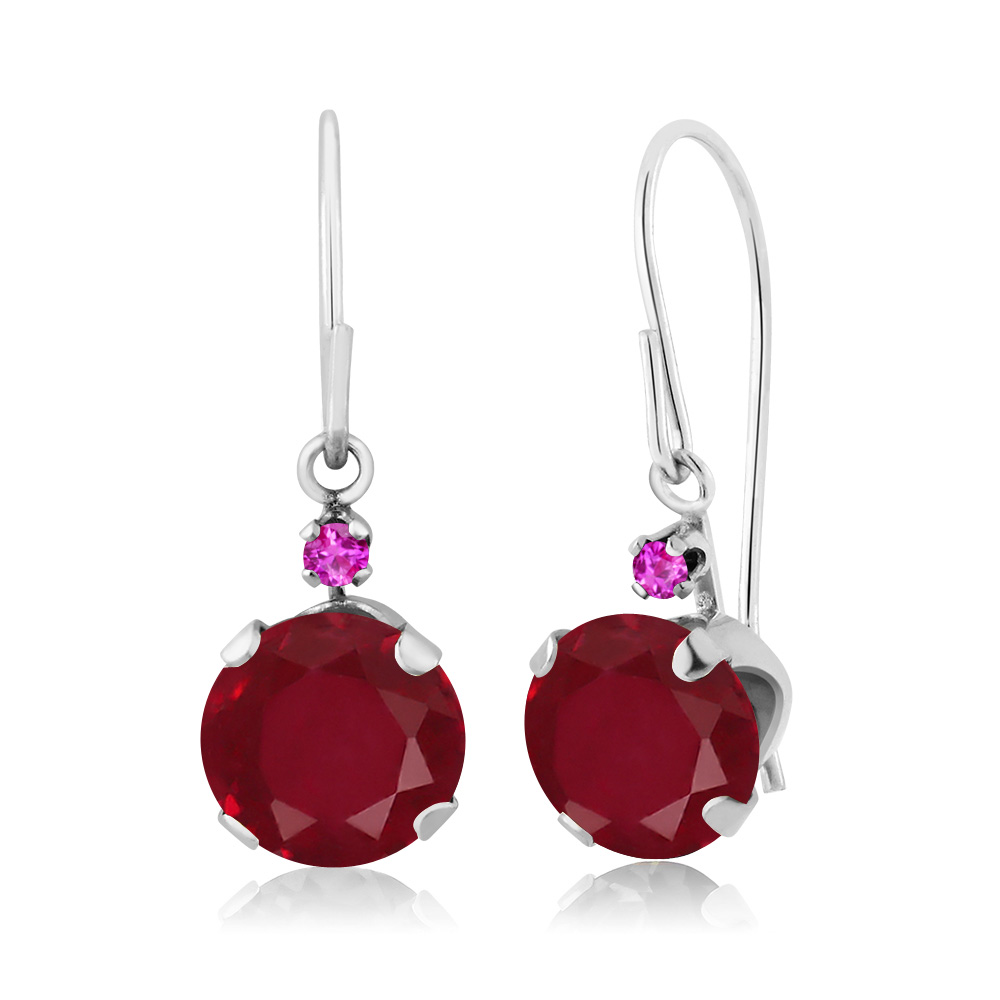 2.14 Ct Round Red Ruby Pink Sapphire 14K White Gold Earrings by