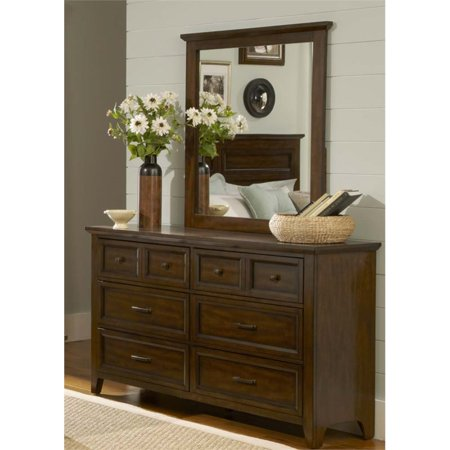 Liberty Furniture Laurel Creek Dresser and Mirror Set in Cinnamon