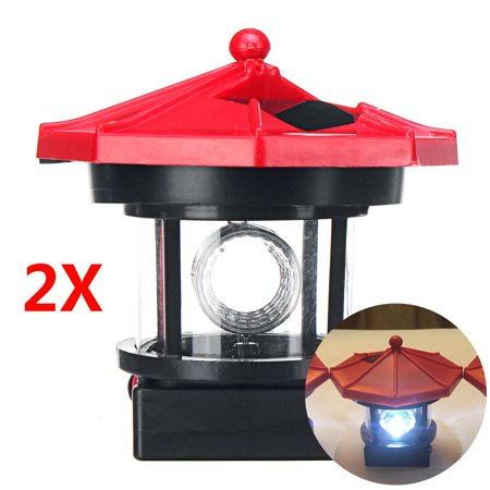1/2Pcs Garden Solar Powered Lighthouse Waterproof with 360° Rotatable Lampshade Solar Power LED Light Lamp House Outdoor Ornament Decor ()