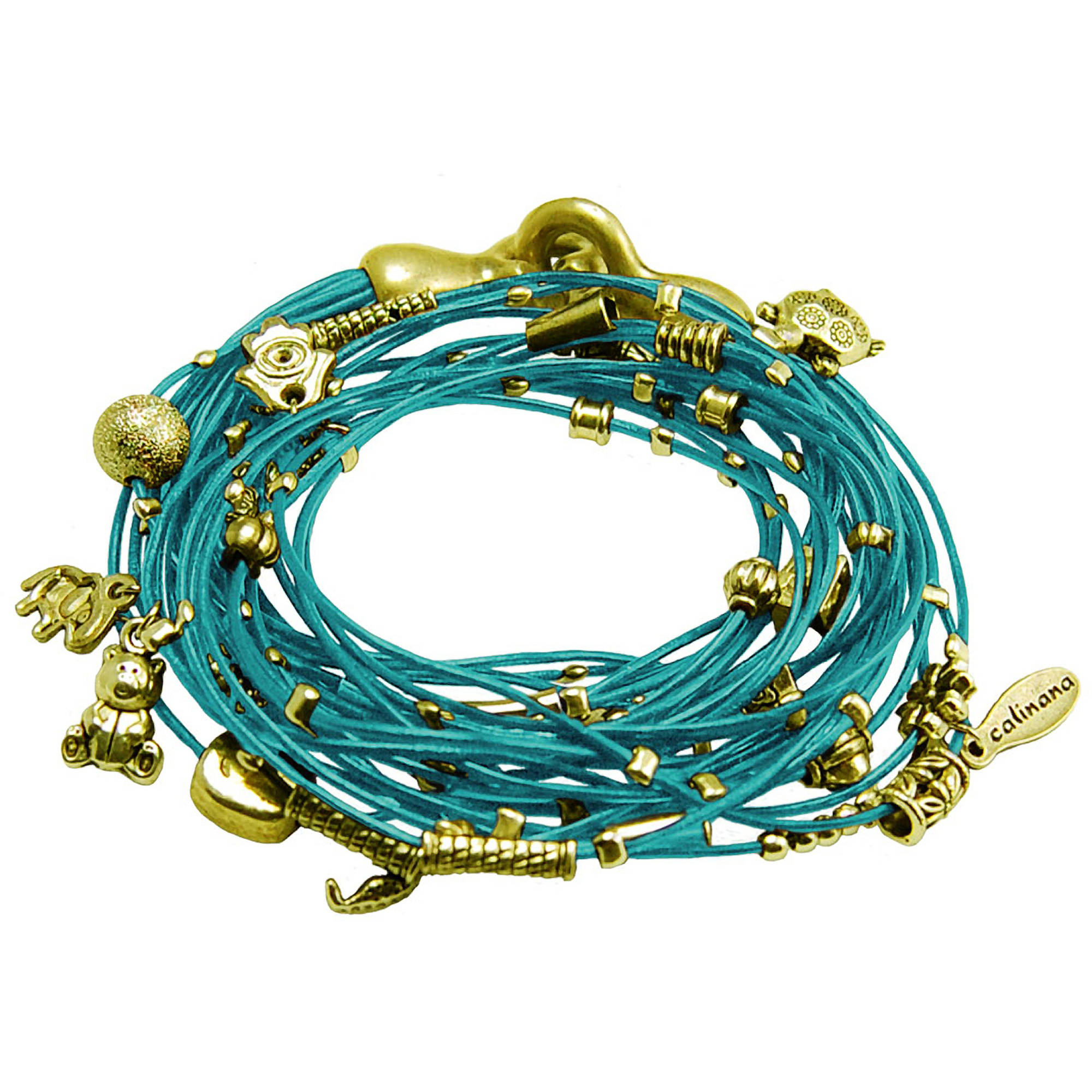 Miss Zoe by Calinana Multi Cord Necklace, Bracelet with Charms, Turquoise/Gold