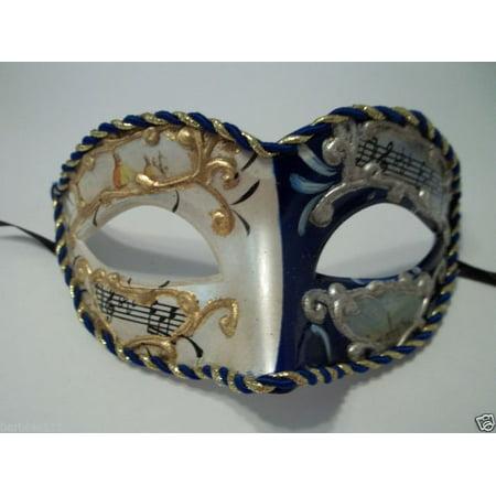 - Blue White Vintage Musica Venetian Small Mardi Gras Masquerade Mask