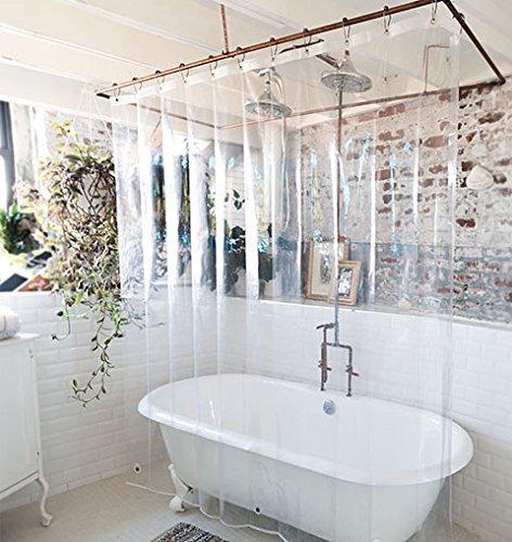 Elegant Comfort Water Repellent Antibacterial And Mildew Resistant Heavy Weight Waterproof Clear Shower Curtain Liner 72 X 72inch