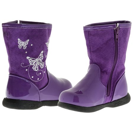 Sara Z Toddler Girls Patent/Matte Boots Butterflies (Purple), Size 9-10 - Girls Purple Sequin Boots