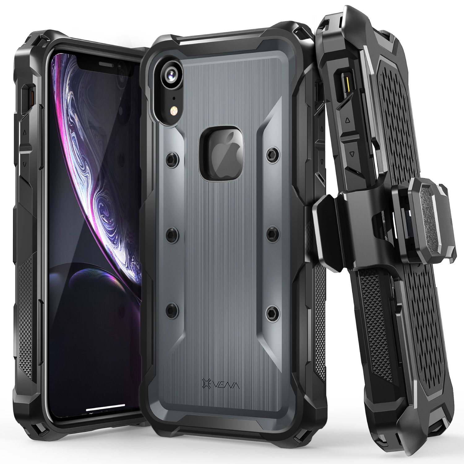 Vena iPhone XR Case, [vArmor] Rugged Holster Case for iPhone XR (Space Gray/Black)