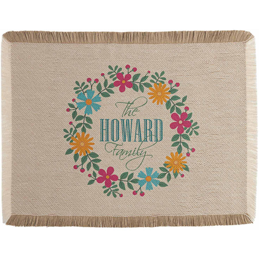 Personalized Floral Family Placemat, Available in 2 Patterns