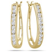 Marquee Jewels 10k Yellow Gold 1ct TDW Round Channel-set Diamond Hoop Earrings (I-J, I2-I3)