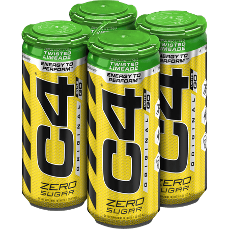 C4 Original Carbonated, Pre Workout + Energy Drink, 4-16oz Cans, Twisted