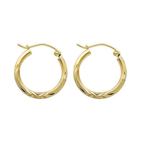 14k Solid Italian Yellow Gold 2 mm Diamond Cut 18 mm Diameter Hinged Hoop Earrings Italian Set Earrings
