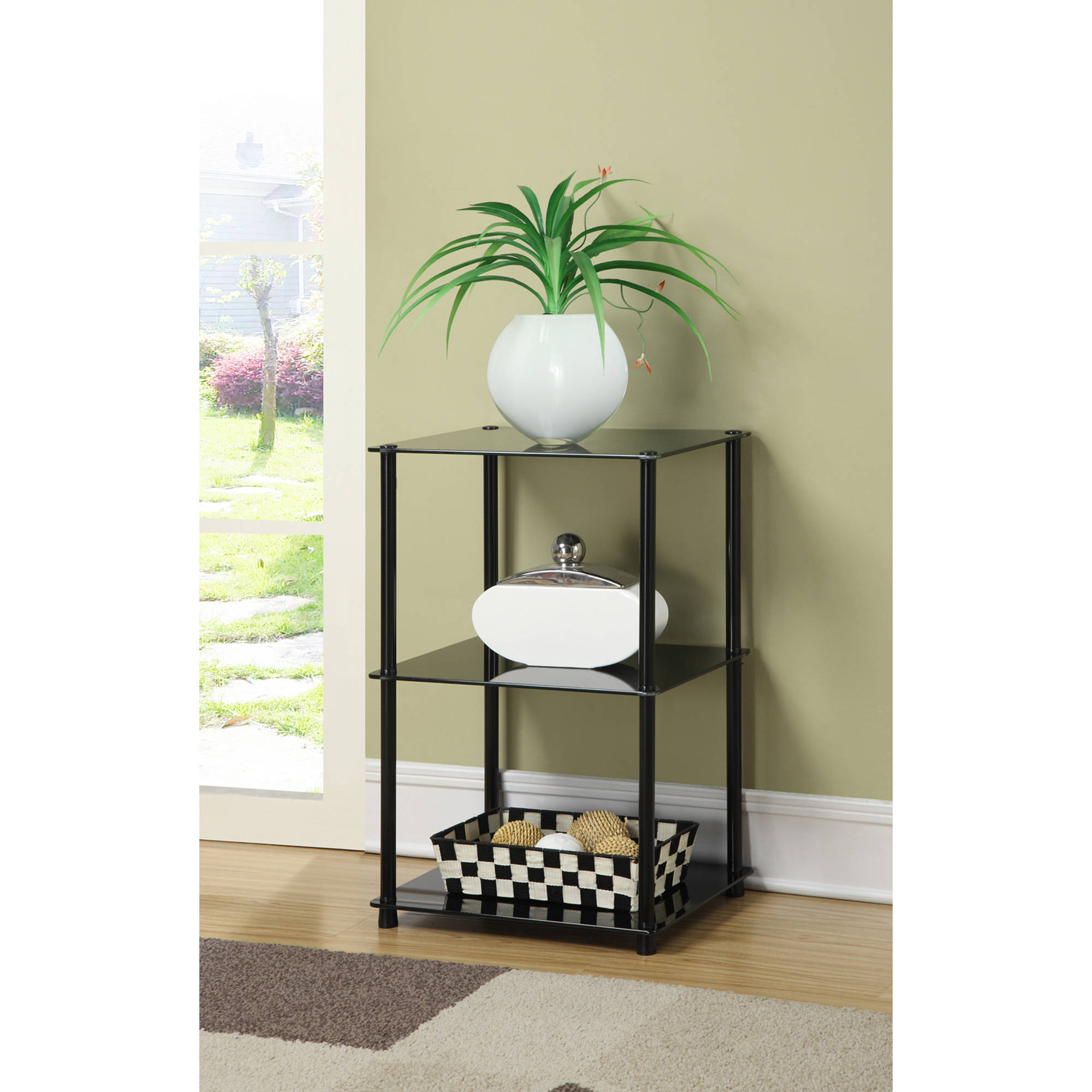 Convenience Concepts Designs2Go Midnight Classic Glass Three Tier End Table, Metal & Black Glass