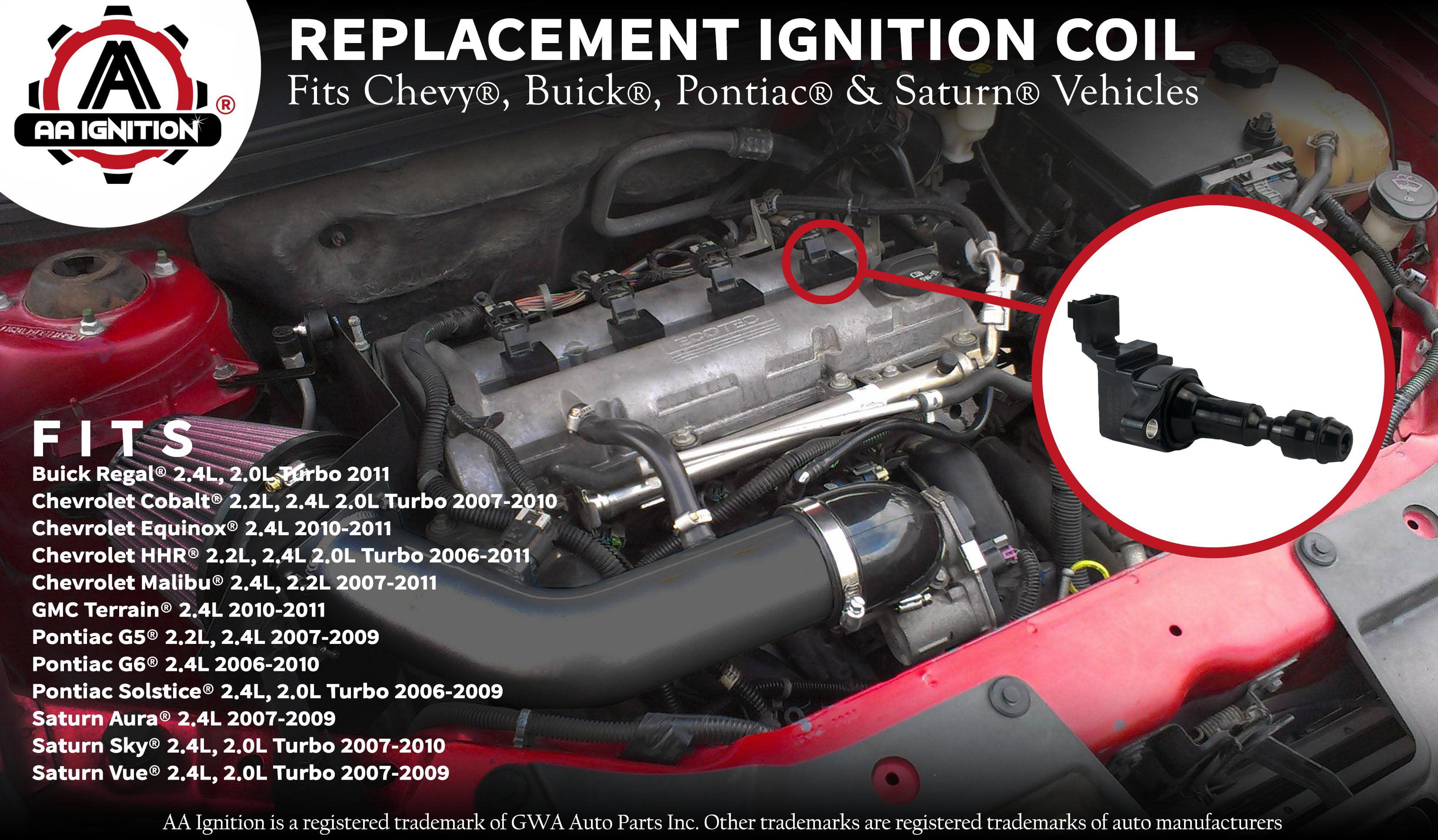 SCITOO Compatible with Set of 4 Ignition Coils Fit Chev-y GMC Pontiac Saturn Saab Cobalt Equinox Malibu HHR G5 G6 Aura Vue C1552 UF491
