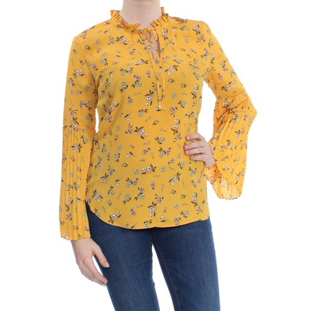 RALPH LAUREN Womens Yellow Floral Pleated Sleeve Tie Neck V Neck Blouse Top Size: M