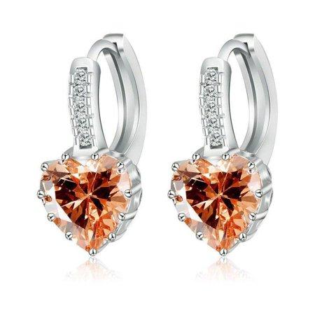 CLEARANCE - Heart Shaped Champagne Diamond CZ Solitaire Hoop Earrings (Champagne Diamond Heart Earrings)