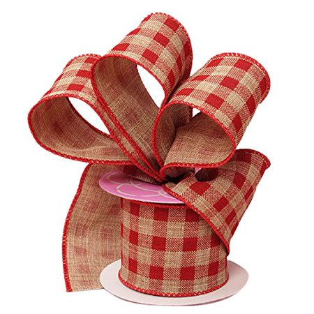 Red Gingham Ribbon Wired Burlap - 2 1/2 Inch x 10 Yards, Christmas, Birthday, Wedding Décor](21st Birthday Ribbon)