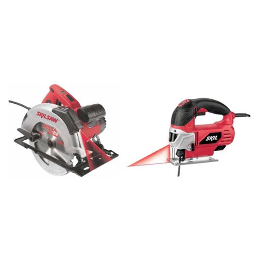 SKIL 2 Tool Corded Laser Precision Cutting Kit, w Circular & Jig Saw Combo 115V [Refurbished] by