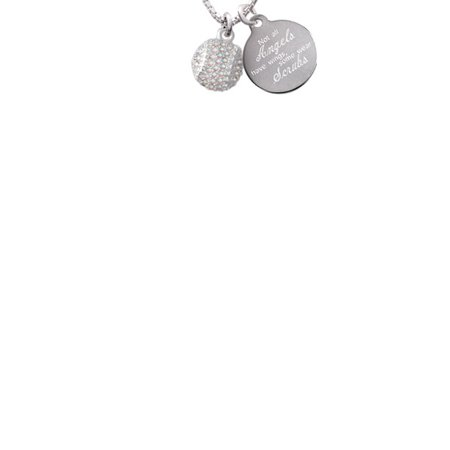 Silvertone Small Sparkle Clear AB Softball Not All Angels Have Wings Some Wear Scrubs Engraved Necklace