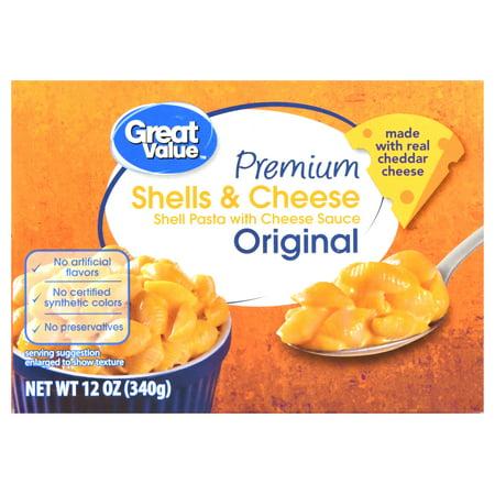 (2 Pack) Great Value Premium Original Shells & Cheese, 12 oz