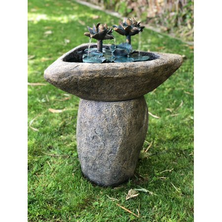 - Alpine Lotus Rock LED Fountain, 30 Inch Tall