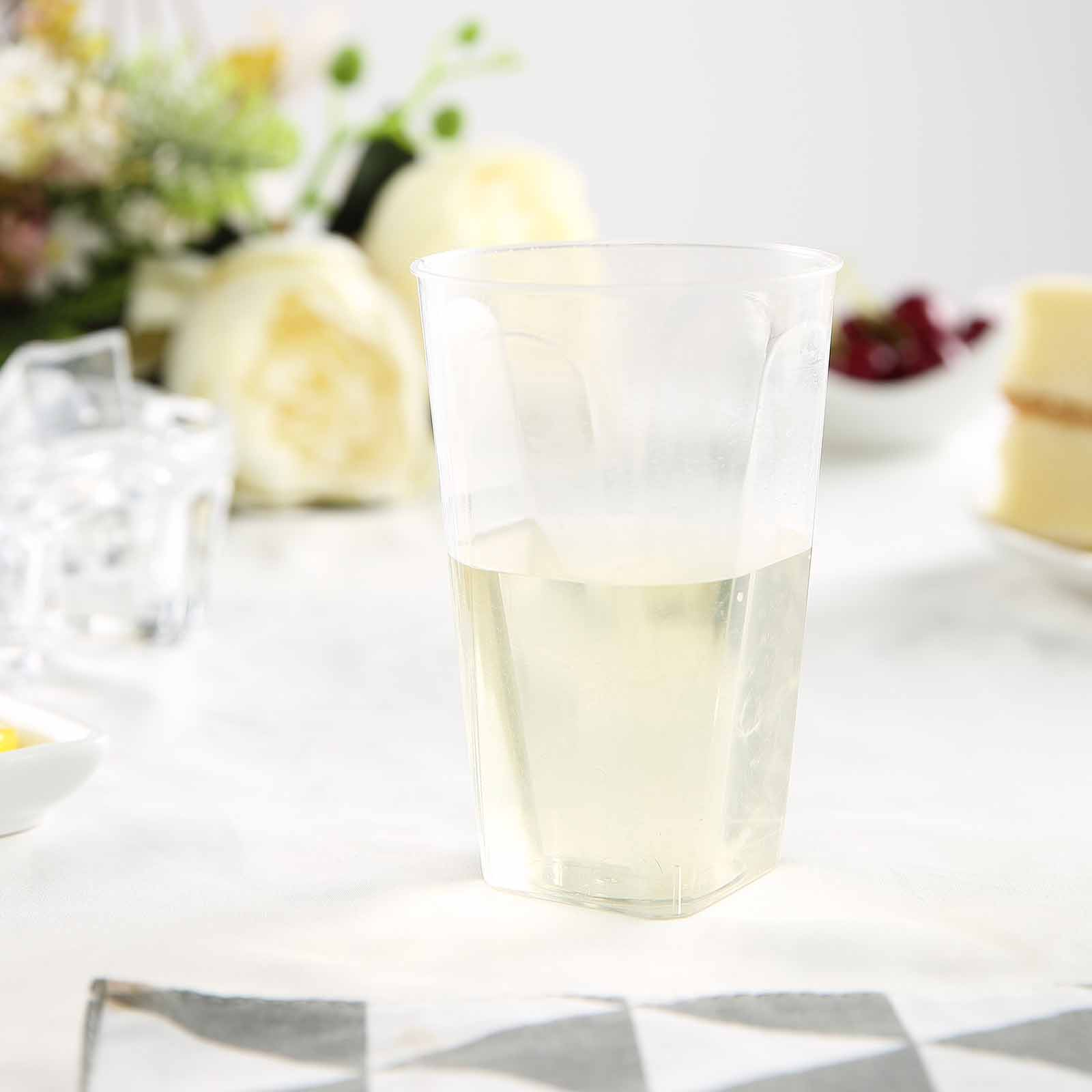 BalsaCircle Clear 12 pcs 10 oz Disposable Plastic Square Bottom Tumblers Cups - Wedding Reception Party Buffet Catering Tableware
