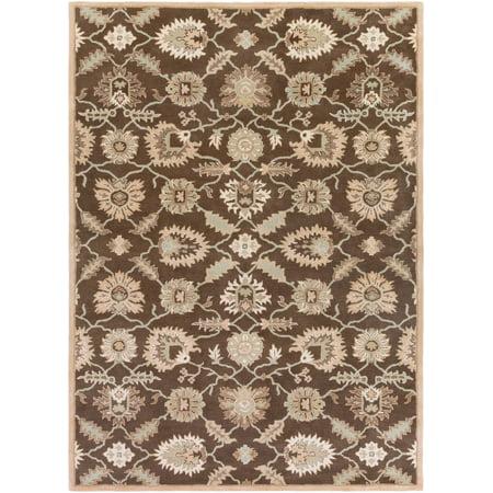 10' x 14' Brown and Cream White Rectangular Area Throw Rug ()