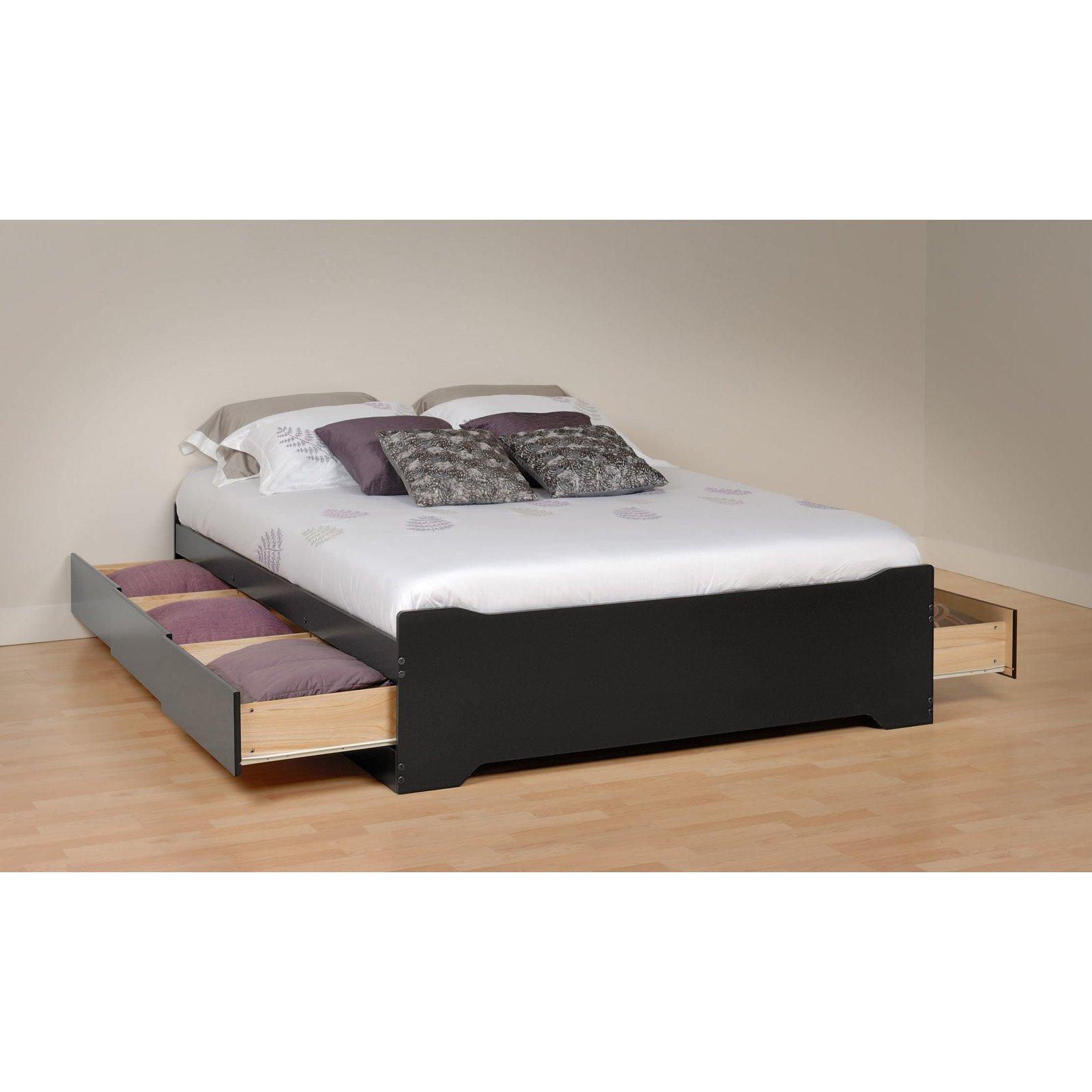 Prepac Coal Harbor Mates Full Platform Storage Bed with 6 Drawers - Black