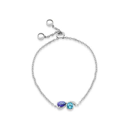 Swarovski Sterling Silver Genuine Bracelets (Violac Purple Topaz Ice Blue Topaz and White Topaz Swarovski Genuine Gemstone Sterling Silver Rhodium Plated Bead Adjustable Bracelet, 9