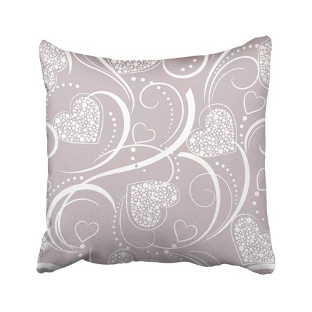 BOSDECO Lace Grey With Hearts Bow Retro Painting Valentine Wall Wedding Blank Pillowcase Cover 20x20 inch - image 1 of 1