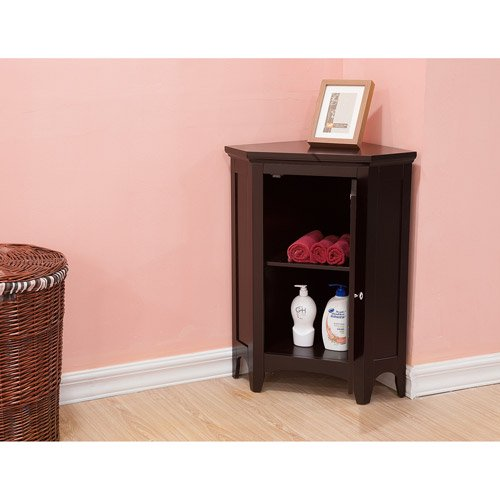 Elegant Home Fashions Sicily Corner Floor Cabinet with 1 Shutter ...