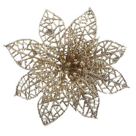 AkoaDa 5PCS Glitter Hollow Artificial Christmas Flower Ornament for Xmas Tree Garland Artificial Flowers for Decorations ()