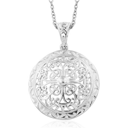 925 Sterling Silver Openwork Circle Chain Pendant Necklace for Women Jewelry Gift 20